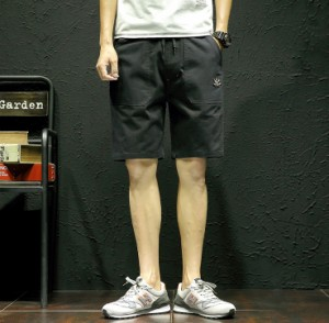 3000円以上送料無料 ハーフパンツ メンズ ボトムス パンツ ハーパン 半パン 腰紐 膝上 ショートパンツ ベイカーパンツ ベーカー ワンポイ