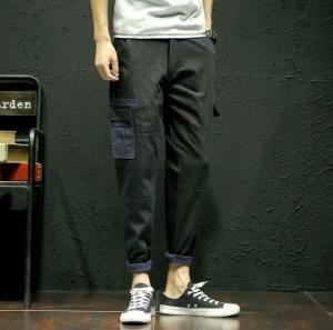 3000円以上送料無料 ボトムス メンズ パンツ ロングパンツ 腿ポケット カラー切り替え 継ぎ ステッチ カジュアル メンズファッション