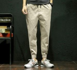 3000円以上送料無料 ボトムス メンズ パンツ ロングパンツ ジョガー ワッペン 腰紐 無地 ワンポイント カジュアル メンズファッション