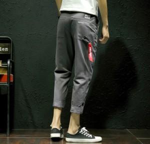 ボトムス メンズ パンツ ロングパンツ ベイカー ベーカー 刺繍 ロールアップ ワンポイント ストラップ カジュアル 3000円以上送料無料