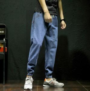 3000円以上送料無料 デニム メンズ ボトムス パンツ ロングパンツ ジョガー サルエル Gパン ジーパン ワンポイント 腰紐 ウエストリブ カ