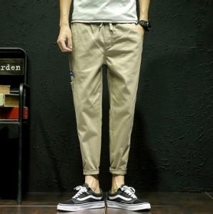 ボトムス メンズ パンツ ロングパンツ 無地 腰紐 カジュアル ワッペン メンズファッション 3000円以上送料無料