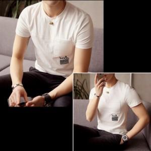 Tシャツ メンズ トップス シャツ 刺繍 胸ポケット クルーネック 半袖 シンプル キレイめ カジュアル ステッチ 3000円以上送料無料