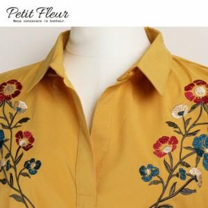 ブラウス レディース トップス 花柄刺繍 ブラウジングタック 長袖 スキッパーシャツ プチ フルール 3000円以上送料無料