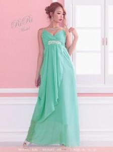 ドレス レディース 大きいサイズあり ストレスフリー ロングドレス Tika ティカ ウエスト ビジュー ライン ロング 3000円以上送料無料