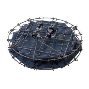 フォールディングバスケット/ランドリーバスケット 【グリーン】 直径46cm 折りたたみ式 キャスター付き