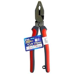 (業務用5個セット) trad パワー圧着ペンチ(DIY 工具 プライヤー) TPP-175mm レッド&グレー