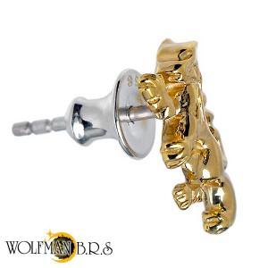 WOLFMAN B.R.S ウルフマン シルバー ピアス メンズ レディース ウルフスタッドAllゴールドコーティング 1個売り片耳用 WO-E-11AG
