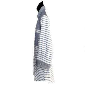 カジュアルシャツ メンズ トップス コットンパナマ ボーダー切替 クロップドスリーブ カッタウェイシャツ メンズファッション 七分袖