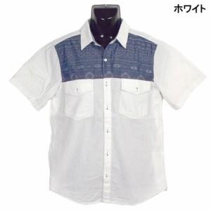 カジュアルシャツ メンズ トップス エスニックジャカード切替 ダンガリー 半袖 シャツ メンズファッション