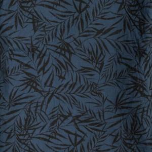カジュアルシャツ メンズ トップス 麻混 スラブ リーフ柄 プリント オープンカラー 半袖 シャツ メンズファッション