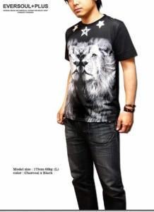 Tシャツ メンズ トップス ダンス バンド衣装 2匹のライオン インパクト大 フォト プリント Tシャツ! メンズファッション 半袖