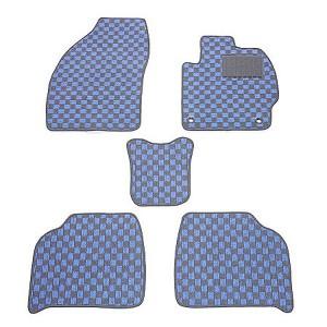 天野 ライフ 年式:H15〜H20 フロアマット一式 (チップアップ) チェック [カラー:ブラック×ブルー] AMANO 送料無料 カー用品