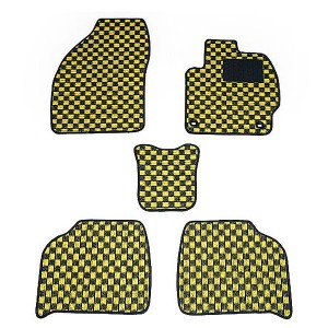 天野 bB 年式:H25〜 (4WD/寒冷地) フロアマット一式 チェック [カラー:ブラック×イエロー] AMANO 送料無料 カー用品