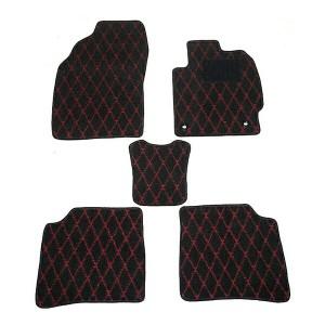 天野 AMANO AZワゴン 年式:H20〜 (コラムシフト) フロアマット一式 ダイヤモンド [カラー:ブラック×レッド] カー用品