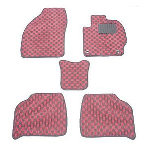 天野 AMANO ビアンテ 年式:H20〜H25 (リアヒーター無) フロアマット一式 チェック [カラー:ブラック×ピンク] 送料無料 カー用品