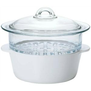 送料無料 石塚硝子 ISHIZUKA GLASS セラベイク ファイア スチーマー ホワイト K-9465 キッチン用品