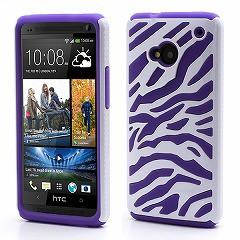 HTC One M7 801e(グローバル版) ハイブリッドケース プラスチック&シリコン ゼブラ柄 ホワイト/パープル 電化製品