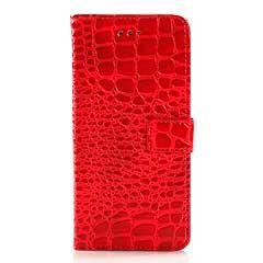 iPhone6s ケース 4.7 inch 手帳型/横開き ワニ皮風デザイン レザーケースカバー 財布/カードスロット付/スタンド機能付き レッド