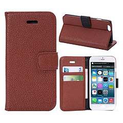 iPhone6s ケース 4.7 inch 手帳型/横開き ライチ レザーケースカバー 財布/カードスロット付/スタンド機能付き ブラウン 電化製品