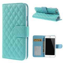 iPhone6s ケース 4.7 inch 手帳型/横開き 格子柄 レザーケースカバー 財布/カードスロット付/スタンド機能付き ブルー 電化製品