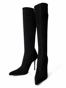 COMEXロングブーツハイヒールストレッチブラックスエードコメックス レディース 靴 (5116)送料無料