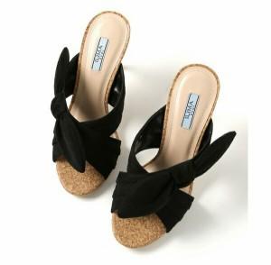 【SALE 20%OFFセール】 イーボル ミュール サンダル ハイヒール リボン ヒール9cm スエード ピンヒール イリマ EVOL 靴 (7392) 【送料無