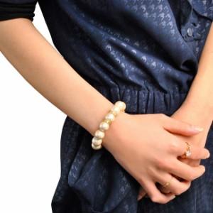 【メール便送料無料SALEセール】高品質日本製12mm粒コットンパールラインストーンブレスレットレディース女性用シンプル真珠リストバンド