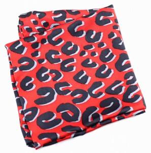 【アパレル】 ルイ ヴィトン モノグラム レオパード スカーフ ストール シルク100% レッド 赤 ブラック 黒 グレー
