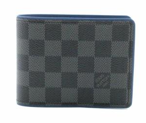 【財布】 ルイ ヴィトン ダミエグラフィット ポルトフォイユ ミュルティプル 2つ折財布 メンズ ブルー 青 イニシャル入り N64434