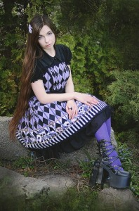 【ゴスロリ ロリィタ ジャンパースカート】☆英文字が逆です☆ ゴスロリ ロリータ ジャンパースカート L599 パンク ゴシック コスプ