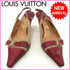 ルイヴィトン Louis Vuitton パンプス /ステッチ入り /レディース /♯36・1/2 ロゴモチーフ【中古】 Y043