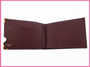 カルティエ Cartier 二つ折り札入れ メンズ可 マストライン 角プレート付き [中古] 未使用品 人気 N173