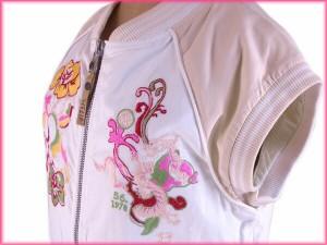 ディーゼル DIESEL アウター ベスト レディース ♯Mサイズ スタジャン フラワー刺繍 [中古] 美品 人気 N198