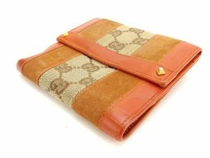 グッチ GUCCI Wホック財布 二つ折り コンパクトサイズ レディース スタッズ付き 120927 GGキャンバス [中古] 激安 セール H257
