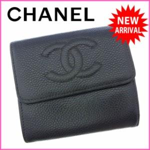 シャネル CHANEL Wホック財布 三つ折り コンパクトサイズ メンズ可 ココマーク [中古] 激安 セール N245