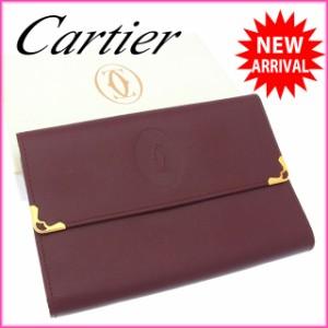 カルティエ Cartier 三つ折り財布 がま口 中長財布 メンズ可 角プレート付き マストライン [中古] 良品 セール N250