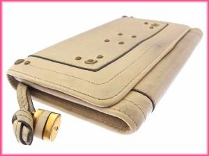 クロエ Chloe 長財布 ラウンドファスナー メンズ可 カデナチャーム付き ロゴ×スタッズ [中古] 激安 セール N254