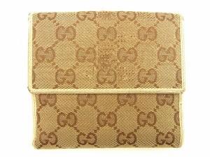 グッチ Gucci Wホック財布 二つ折り財布 レディース GGキャンバス人気 セール【中古】 T705
