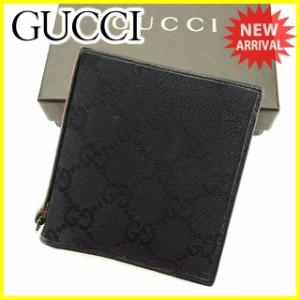 グッチ Gucci 二つ折り 札入れ 二つ折り 財布 レディース メンズ 可 GGキャンバス人気 セール【中古】 T2809