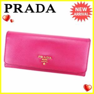 プラダ PRADA 長財布 二つ折り 財布 メンズ可 人気 良品【中古】 L1666