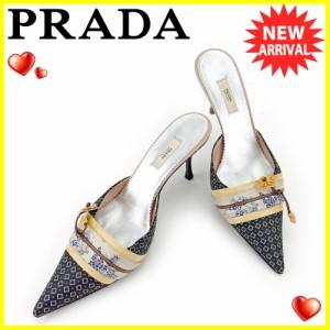 プラダ PRADA ミュール シューズ 靴 レディース ♯38 サンダル 着物帯デザイン 人気 セール【中古】 T5419