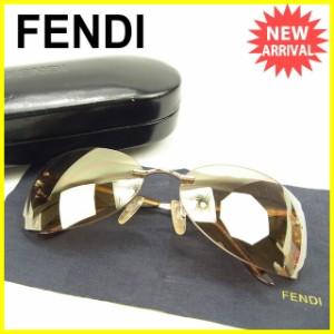 フェンディ FENDI サングラス メガネ メンズ可 ミラーレンズ Fモチーフ 良品 セール【中古】 Y7018