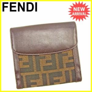 フェンディ FENDI Wホック財布 二つ折り財布 メンズ可 ズッカ [中古] 良品 セール J17843