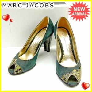 マークジェイコブス MARC JACOBS パンプス シューズ 靴 レディース ♯37 パイソン調切替え オープントゥ [中古] 人気 セール J17869