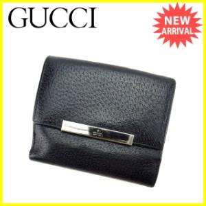 グッチ GUCCI Wホック財布 二つ折り財布 メンズ ロゴプレート [中古] 人気 セール I408