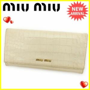 ミュウミュウ miumiu 長財布 ファスナー付き長財布 レディース 5M1109 クロコダイル調 [中古] 人気 セール J12546