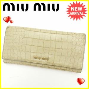 ミュウミュウ miumiu 長財布 ファスナー付き長財布 レディース クロコダイル調 [中古] 人気 セール J12553