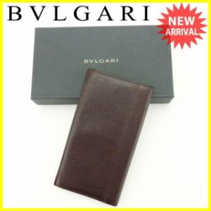 ブルガリ BVLGARI 長札入れ メンズ ロゴ 人気 セール【中古】 Y5693
