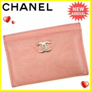 シャネル CHANEL カードケース レディース カメリア人気 セール【中古】 Y5588